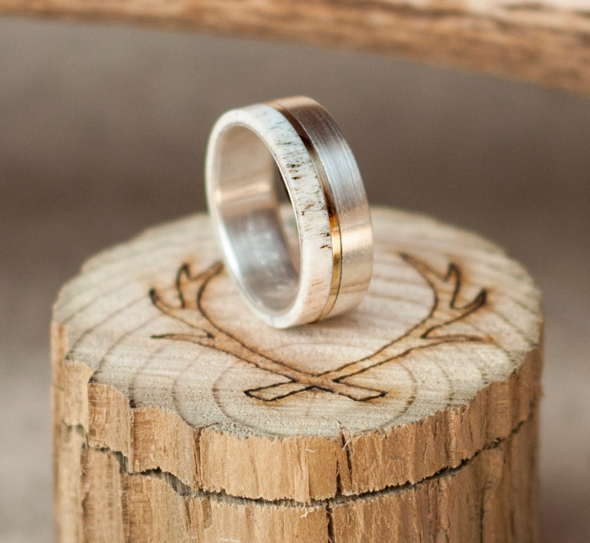 Mens Wedding Band Elk Antler Titanium Ring W 10K Gold Inlay