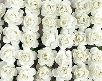 144 White Paper Roses, Paper Flowers