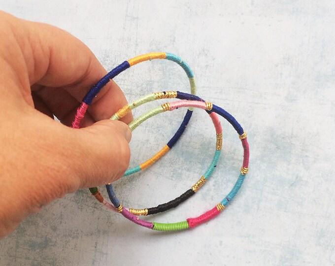 3 Wrap bracelet - bangle - cuff bracelet - fabric bracelet - Boho