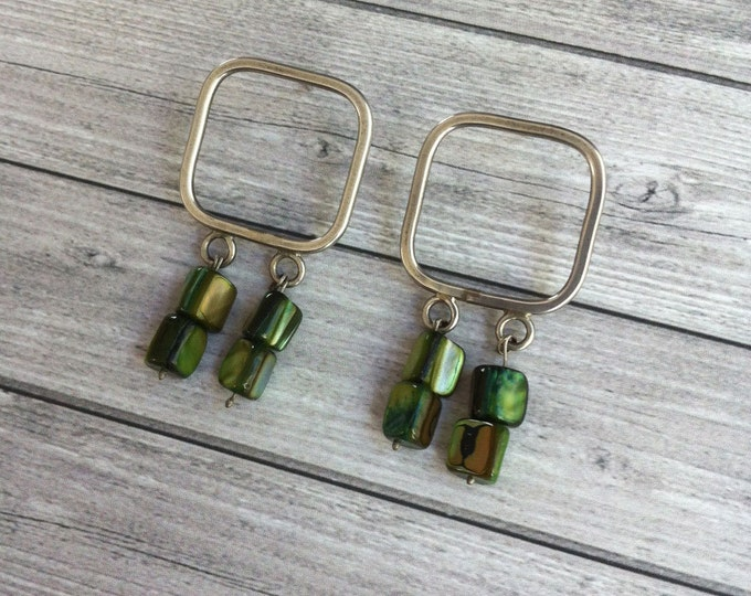 Stud silver earrings - square shape - dangle and drop mother of pearl green - gift for her -geometric contemporary jewelry -bold earrings