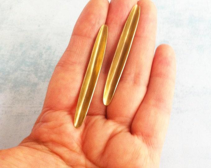 Brass stud earrings - minimal earrings - contemporary jewellery - long leaf earrings -simple jewelry -golden long earrings - gift for her