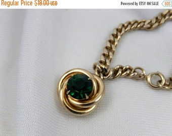 ON SALE Vintage Emerald Green Charm Bracelet / Mid Century Charm Bracelet