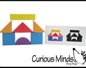 Wooden Block Patterns - Create Patterns and Silhouettes with Colorful Organic Building Blocks
