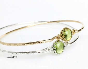 Genuine Peridot Bracelet / August Birthstone Gift for Wife, Mom / New Mother Push Gift / Green Gemston Bangle / 14k Gold Filled or Sterling
