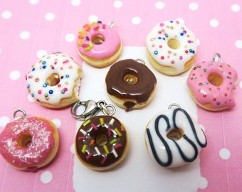 Donut charms Various - miniature food jewelry - donut necklace, food jewelry, food charms, donut charm, donut jewelry, donuts, kawaii charms