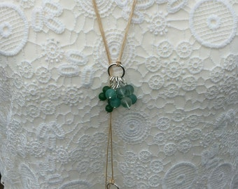 Christmas Gift, Gemstone Lariat, Handmade Green Flourite Lariat, Designer Agate Lariat, Jade Necklace, K Brown Jewellery, Edinburgh U K