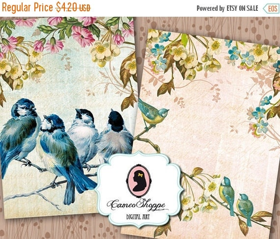 75% OFF SALE BLUE Birds Digital Collage Sheet Digital Tags Set of 8 Digital Collage BIrds Instant Download