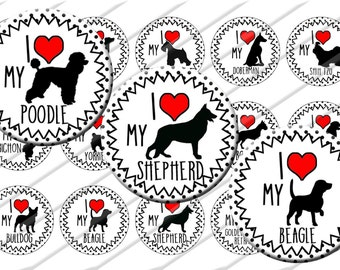 Dog Breeds I heart my Bottle Cap Images 1 inch circle image sheet Digital Collage INSTANT DOWNLOAD Clipart