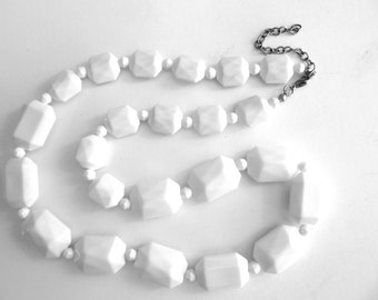 Long Lucite Bead Necklace Faceted Graduated White Beads Single Strand 25 - 28 Inches