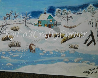 Folk Art Winter Farmland Cows Painting Signed & Dated by Artist  Paper Print Unframed