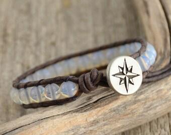 Compass jewelry. Beaded opal single wrap bracelet