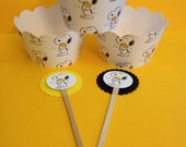Snoopy and woodstock inspired cupcake wrap and picks set