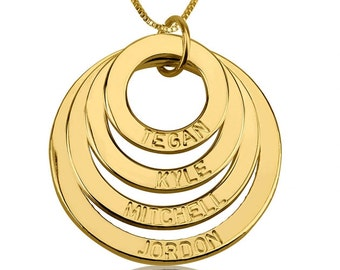 24K Gold Plated Engraved 4 Rings Mother Necklace with chain