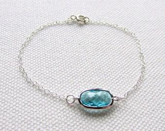 Light Blue Bracelet Minimal Silver Bracelet Sterling Silver Gift for Her Birthday Anniversary