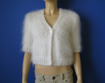 Made to Order ! New Hand Knitted Mohair Bolero Sweater Shrug size S White