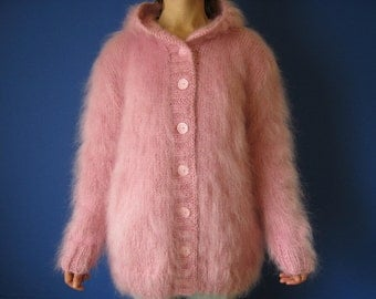 Made to Order !  New Pink  Mohair Jacket Thick Cardigan Sweater Knitted Hands  XL