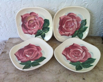 Lexington Rose Concord Square, Vintage Pottery, Red Wing Pottery, Hand Painted Saucers, Mid Century, Set of Four, Free Shipping