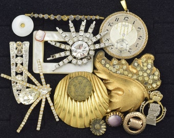 Vintage Costume Jewelry Lot Repair Scrap Repurpose Destash AS IS Craft ~ Lot 324