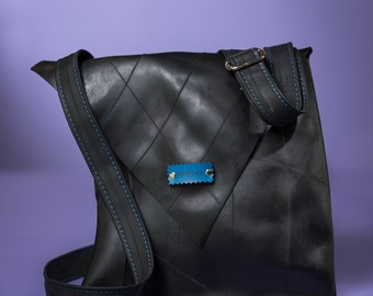 Man Messenger Bag // Woman Messenger Bag // Rubber Messenger Bag  // Black Messenger Shoulder bag