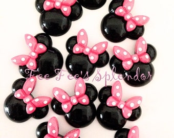 2 pc set- Pretty Minnie inspired Mouse Flatback resin- Mouse cabochon- w/ Pink bow * Hair bow center *