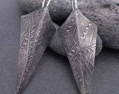 Long angular contemporary triangular sterling silver earrings, solid patterned textured layered metalwork, dark gray patina & bright silver