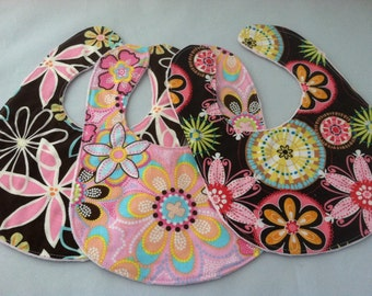 Set of Three Boutique Baby Bibs... Pink and Brown Floral...Ready to Ship...Shower Chic