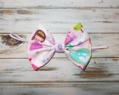 Cotton Fabric Bow Skinny Elastic Headband/Princess Fabric Hair Bow Headband/Infant, Toddler, Girls Large Pink Princess Bow Headband or Clip