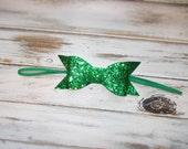 St Paddy's Day Glitter Bow Skinny Elastic Headband/St Patricks Day Hair Bow Headband/Infant, Toddler, Girls Large Bow Headband or Clip