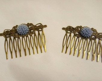 Hair Combs Dusty Blue Flowers on Antique Gold