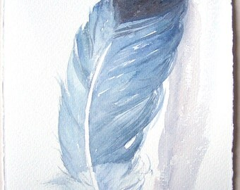 Cobalt blue feather painting/ Watercolor original/ Feather artwork 7,5'x11'/ Home and Living/ Feather wall art/ Small watercolors/Gift him
