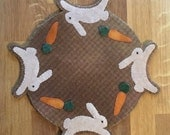 """Midnight Harvest Run - Bunnies """"Whatever"""" Mat Collection - Candle Mat ~ Penny Rug E-Pattern with 2 Bonus Designs"""