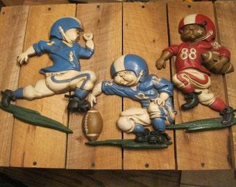 Vintage Football-Metal Football Decor-Football Player Wall Plaques-Mancave Decor-Boys Room Decor-Bar Decoration