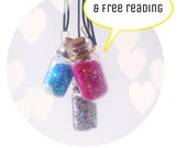 Glitter message in a bottle necklace with free one card angel reading