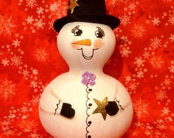Snowman Bottle Gourd, Christmas, Top Hat, Bow Tie, Gold Star, X-Large, Handpainted (SN454)