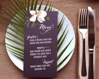 Black Magnolia Botanical Wedding Menus