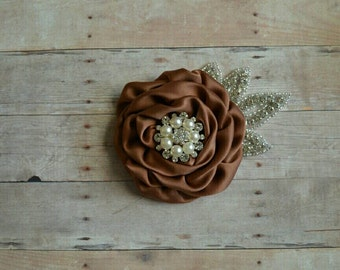 Brown Chocolate Satin Flower Hairclip Baptism Hair Clip Wedding Fascinator Christening Blessing Baby Toddler Hairclip Flower Girl Spring