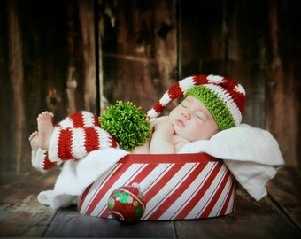 Longtail Elf Hat & Matching Pants Handmade Christmas  Crochet Baby Beanie Hat Photo Prop Custom Made