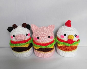 Amigurumi Burger, Crochet Food, Chicken, Cow, Pig, Plushies
