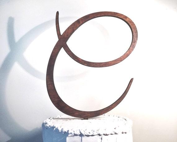 Wooden Wedding Cake Topper: Letter C Monogram Cake Topper
