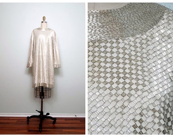 60s Heavily Beaded Vintage Dress // Heavy Silver Beaded Dress // 60's Fully Embellished Mod Couture Dress by ALDRICH