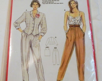 1980s High waisted pleated pants Fitted Jacket Button front camisole sewing pattern Burda 5357 Size 10 12 14 16 18 UNCUT FF