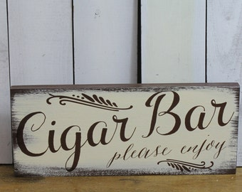 CIGAR BAR Sign/ Wedding Sign/U choose color/Great Shower Gift/Vintage Style/Brown/Ivory/Wood Sign/Hand Lettered style