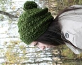 Slouchy Hat with Pom Pom . Warm Winter Wear . Made in Canada  { Evergreen }