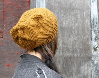 Warm Slouchy Hat . Chunky Knit Winter Hat . Wool Free Knitting  {  Cinnamon  }