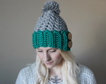 Warm Chunky Wood Button Tab Hat  . Winter Pom Pom Hat . Wool Free  {  Heather Grey & Aqua  }