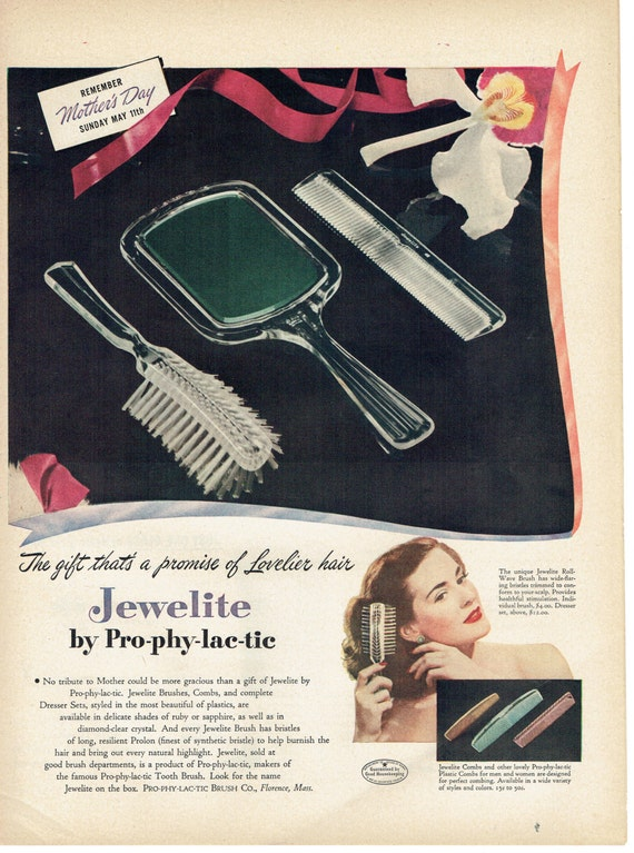 1947 Jewelite by Prophylactic Brushes and Combs Mothers Day Advertisement