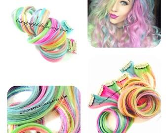 Hair Extensions, Custom Rainbow, Pastel, Ombre, Dip Dye Clip in Human Hair, RAVE edc festival hair