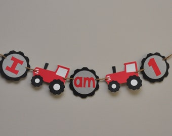 Tractor Birthday Party, High Chair Banner,  I am 1 banner