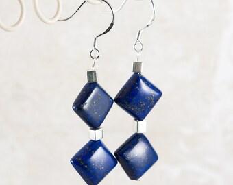 Lapis Lazuli Earrings, Blue Stone Geometric Semi Precious Earrings, Sterling Silver