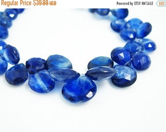 BIG SALE 1/2 Strand- AA- Blue Kyanite Faceted Heart Briolettes -Stones measure- 9-5mm